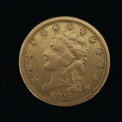 1836 US Classic Head $2-1/2 Dollar Gold Quarter Eagle Collector Coin 6GE3649