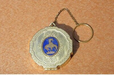 Decorative ART DECO 8-Sided Powder & Rouge Compact w/Attached Chain & Ring