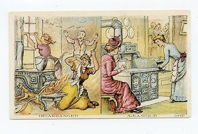 Before & After 1880's Victorian Trade Card Stove & Ranges Cincinnati, Ohio