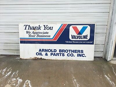 Vintage Valvoline Oil Dealership Sign 8 X 4 Feet Gas Pump Painted Metal Embossed