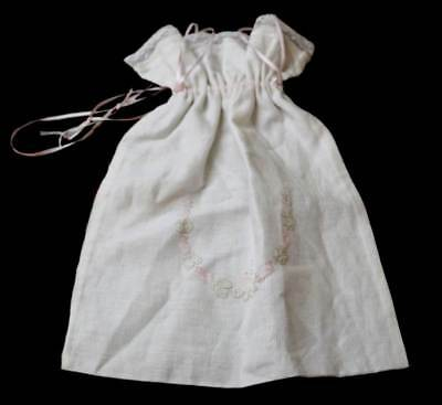 Vintage beautiful embroidered pink flowers linen drawstring lingerie   hanky bag