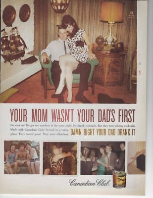 """Canadian Club Print Ad-""""your Mom Wasn't Your Dad's First' Bar Decor Ad"""