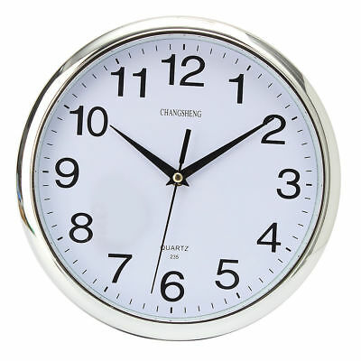 Silver Round Wall Clock Retro Vintage Silent Modern Home Bedroom Kitchen Time UK