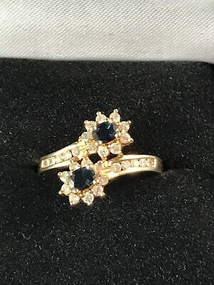 Estate 18K Yellow Gold Sapphire & Diamonds Ring 3.6 Grams Size 7