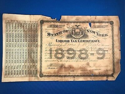 Retail Liquor Dealer IRS Tax With Tabs Westchester New York 1898