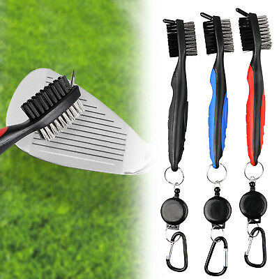 3-pack Dual Bristles Golf Club Brush Cleaner Ball Cleaning Clip Groove w/Spike