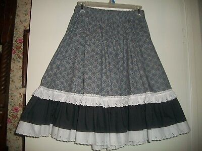 Square Dance Skirt Gray With Black And White Tiered Ruffles