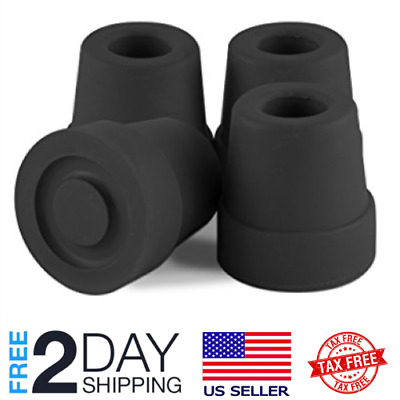 Premium Black 1/2 Inch Anti Slip Walking Quad Cane Rubber Tips Replacement 4pcs