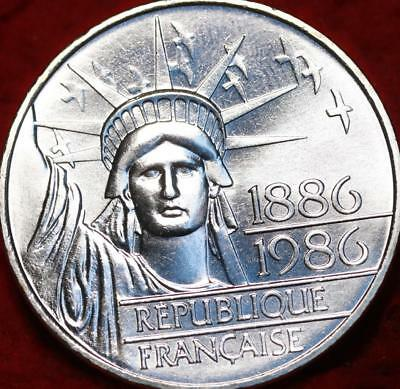 Uncirculated 1986 France 100 Francs Silver 100th Anniversary SOL Foreign Coin