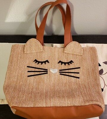 Cat Plastic Woven Embroidered Tote Bag