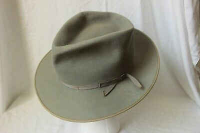GORGEOUS Vintage 50's STETSON DE LUXE OPEN ROAD, Light Gray, 7 fits to 7 1/8th