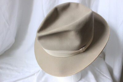 STUNNING Vintage 50's BORSALINO EXTRA SUPERIORE FEDORA, Beige, 7 fits to 7 1/8th