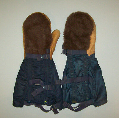 Old Vtg WWII 1940s US Air Force N-4A Blue Air Crew Gloves Mitten Style W/ Insert