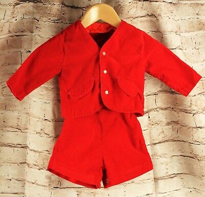 Vintage Red Corduroy Overall Shorts Jacket 2-Piece Baby Size 6-12 Months Romper