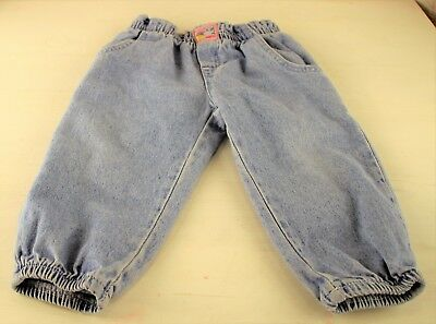 Vintage Lee Jeans Girls Blue Denim Pants Pockets Elastic Waist Ankle 24M Months