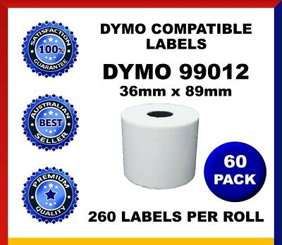 60 Rolls Dymo Seiko Compatible 99012 Labels 36mm x 89mm Labelwriter SD99012