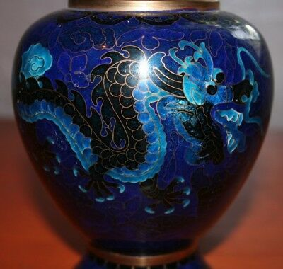 Beautiful Blue Cloisonne Vase Dragons Gold Gilt Japanese Asia Art Chinese