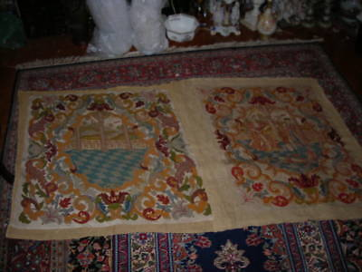 Unusual Pair Of Unframed Antique 1850's French Needlepoint Tapestries