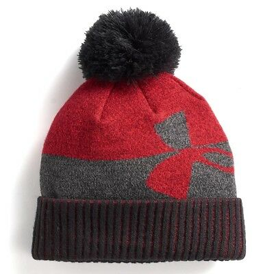 NWT Boys Under Armour Pom Beanie 4 Colors Black Blue Green Red FAST SHIPPING