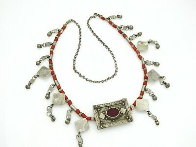 elegant necklace with antique hand made Yemen Bedouin ornaments and rare pendant