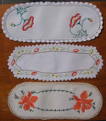 Three Vintage Hand Embroidered SANDWICH DOILIES Crochet Edge