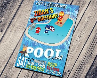 Boy Superhero Pool Party Invitation
