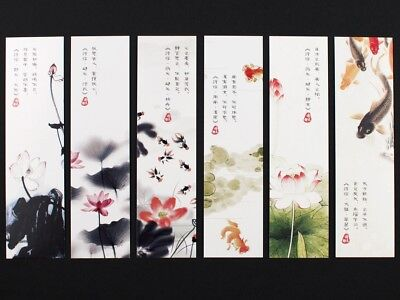 Pack of 30 Chinese bookmarks of vintage floral & landscape ink paintings #B0004