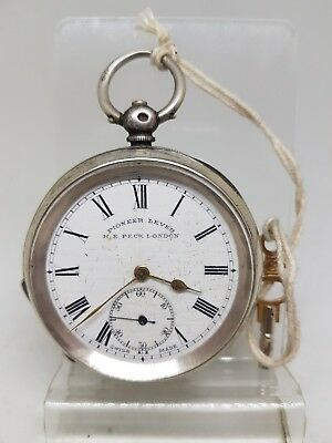 Antique solid silver H. E. PECK LONDON pocket watch c1900 working ref168