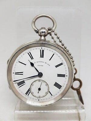 Chunky Antique solid silver Tho's Russell & son pocket watch 1894 working ref158