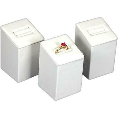 """3 White Faux Leather Ring Display Stands 2 3/4"""""""