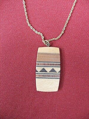 Vintage hand made inlaid wooden  pendant from the 70s on 17 inch gold-tone chain