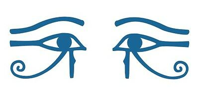 Ancient Egyptian Eye of Horus Ra Thoth talisman pair blue vinyl decals stickers