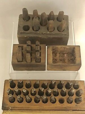 Antique Metal & Leather Punch Die Alphabet & Number Stamp Sets in Wood Boxes