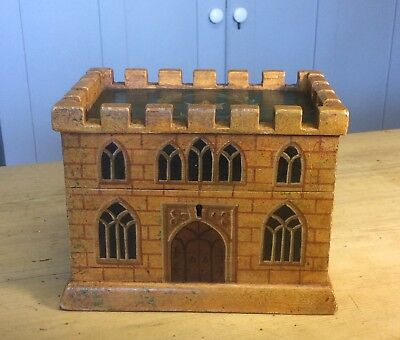 Rare Wooden Painted Tea Caddy In The Form Of A Castle