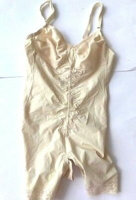 Promise Weave Poirette Sz 36 Full Body Bra Girdle with hook garters VTG 1940's?