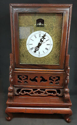 Antique Carved Rosewood Chinese Platform Escapement Bell Strike Bracket Clock