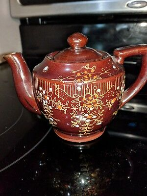 Redware Brown Betty Teapot Vintage Ceramic Japan Tea Pot 5.75 inches Tall