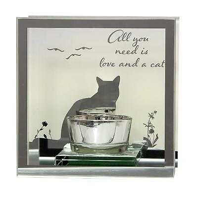 Mirrored Glass Black Cat Lamp Night Lights Tea Light Holder Candle Lamp Reflect