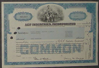 ACF Industries, Incorporation 1979 100 Shares