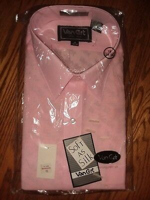 Vintage Van Cort Dress Shirt Pink New Old Stock Nos Orig Package With Tags 16