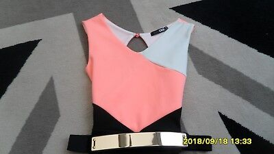 Girls Pink/white/black Playsuit From Quiz. Sz Uk 6. Bnwot. Mint Cond.