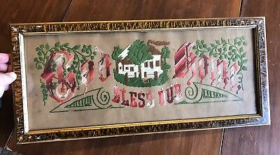 """Antique Victorian Punch Paper Motto """"God Bless Our Home"""" Embroidered 22x10"""