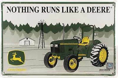 NOTHING RUNS LIKE A JOHN DEERE LICENSED TIN METAL WALL SIGN TRACTOR 18x12 NEW US