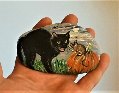 Original Hand Painted Scared Black Cat Mouse Full Moon Halloween On River Rock