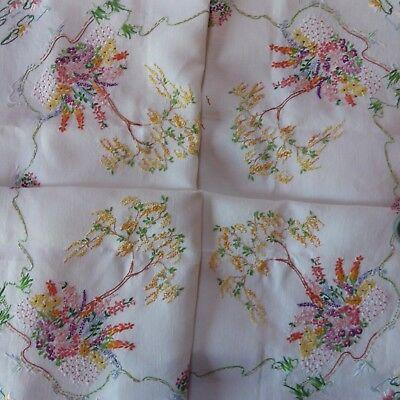 Stunning Vintage Hand Embroidered White Linen Tablecloth Laburnum Trees Flowers