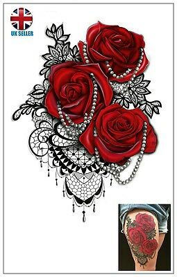 red roses and pearls temporary tattoo