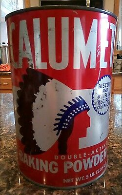 Vtg  Calumet Baking Powder Tin Can Large 5# l