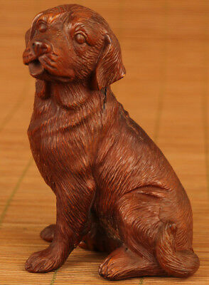 Big Chinese old Boxwood Hand Carved Dog statue Netsuke collectable