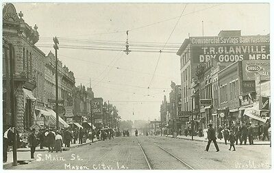 Busy Main Street circa 1910 Real Photo Postcard Mason City Iowa Antique RPPC IA