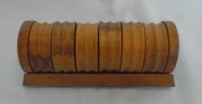 "6 x Unusual Old Wooden Retro Napkin Rings in Wood Holder approx Length 5"" Fr P&P"